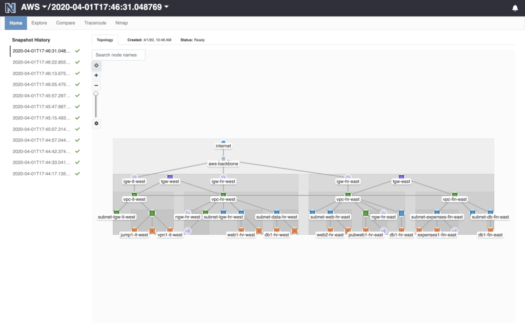 Batfish Enterprise AWS Topology View