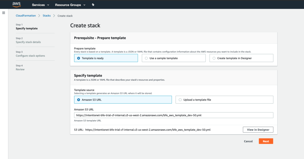 AWS Cloudformation template step 1