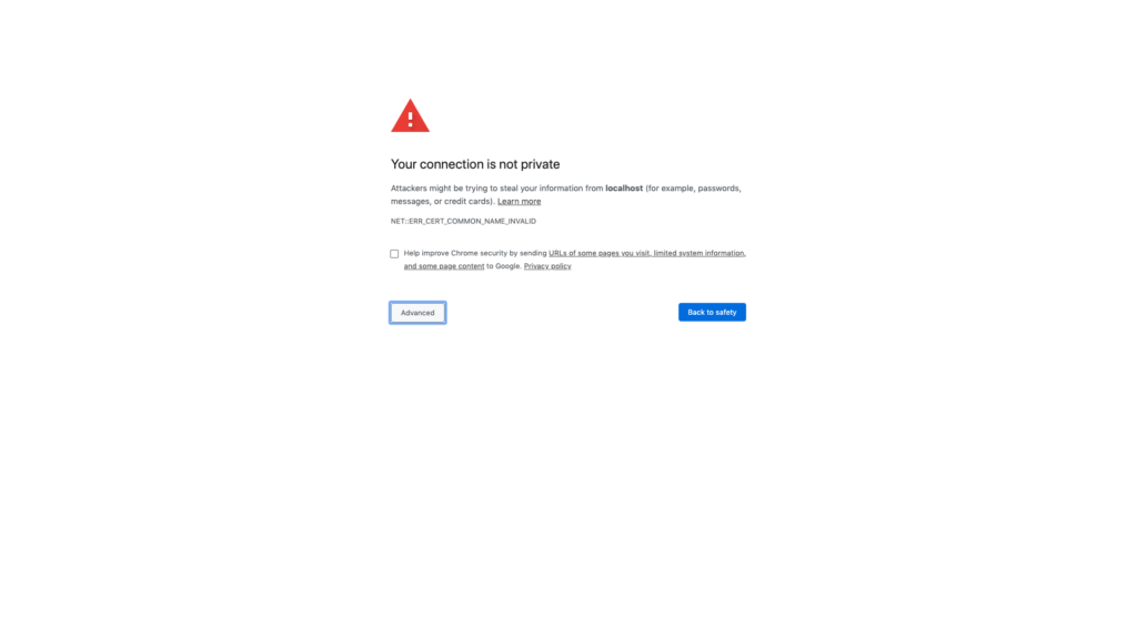 Private SSL certificate warning