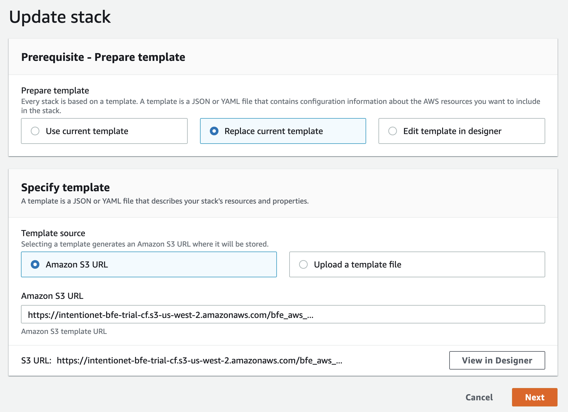 Update stack page with updated URL